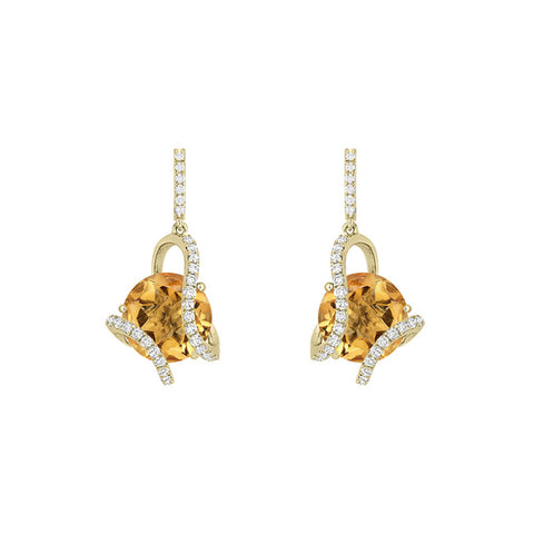 Galaxy Mini Hydra Earrings in Citrine, Diamonds and Yellow Gold