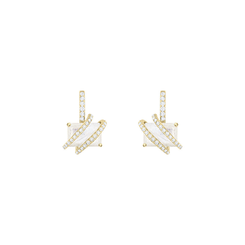 Galaxy Linx Comet Earrings in Rainbow Moonstone, Diamonds and Yellow Gold
