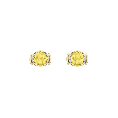 Galaxy Perseus Stud Earrings in Lemon Quartz, Diamonds and Yellow Gold