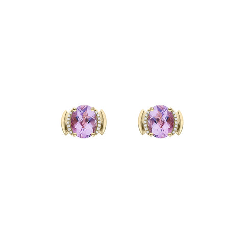 Galaxy Perseus Stud Earrings in Rose de France, Diamonds and Yellow Gold