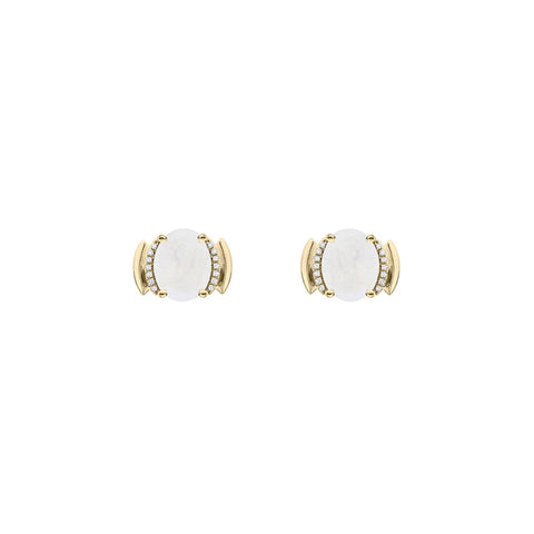 Galaxy Perseus Stud Earrings in Rainbow Moonstone, Diamonds and Yellow Gold