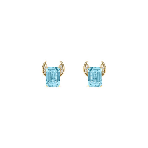 Galaxy Axis Stud Earrings in Sky Blue Topaz, Diamonds and Yellow Gold