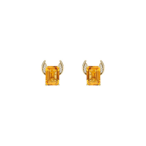 Galaxy Axis Stud Earrings in Citrine, Diamonds and Yellow Gold