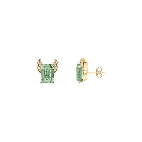 Galaxy Axis Stud Earrings in Prasiolite, Diamonds and Yellow Gold