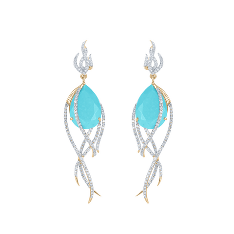 Galaxy Comet Earrings in Turquoise, Diamonds and Yellow Gold