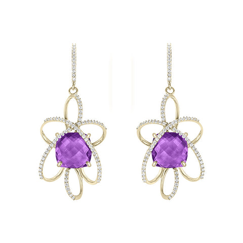 Galaxy Orbit Earrings in Purple Amethyst, Diamonds and Yellow Gold
