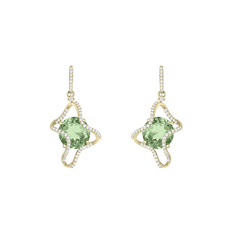 Galaxy Ares Earrings in Prasiolite, Diamonds and Yellow Gold