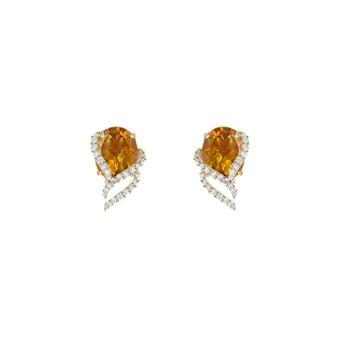 Galaxy Ares Stud Earrings in Citrine, Diamonds