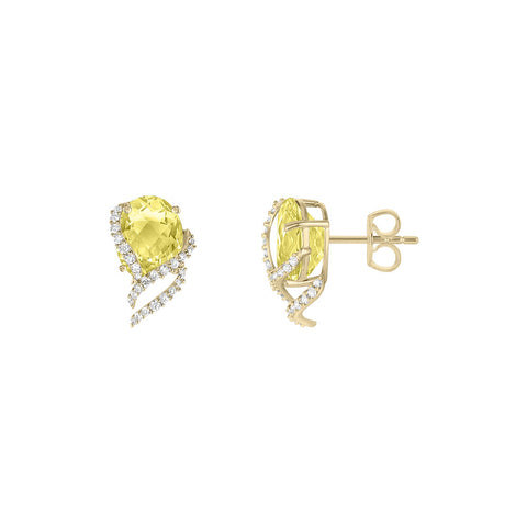 Galaxy Ares Stud Earrings in Lemon Quartz, Diamonds and Yellow Gold