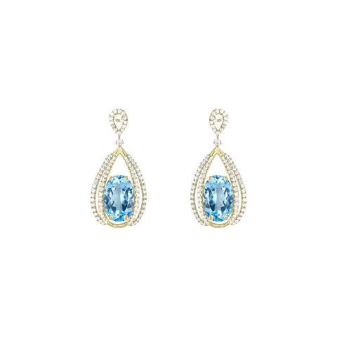 Galaxy Carina Earrings in Blue Topaz, Diamonds and Yellow Gold