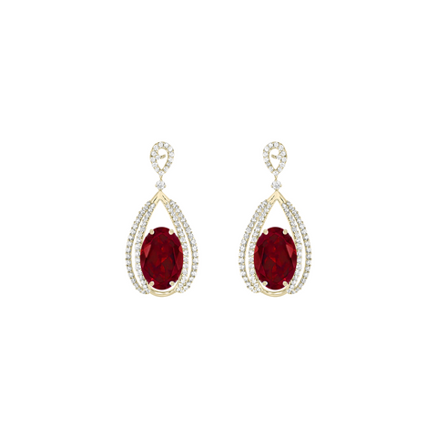 Galaxy Carina Earrings in Garnet, Diamonds, and Yellow Gold