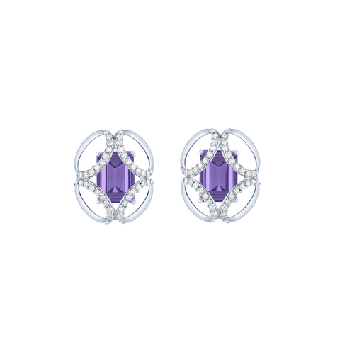 Galaxy Cabriolet Stud Earrings in Purple Amethyst, Diamonds, Sterling Silver and White Gold