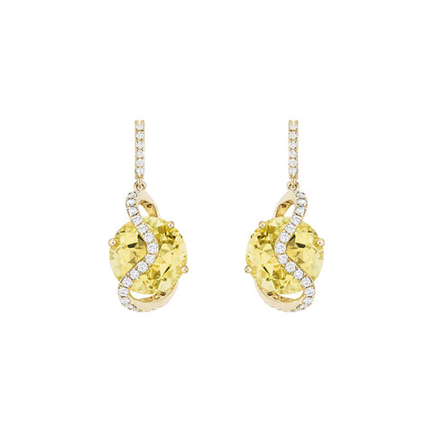 Galaxy Leo Earrings in Lemon Quartz, Diamonds and Yellow Gold