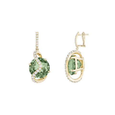 Galaxy Leo Earrings in Prasiolite, Diamonds and Yellow Gold