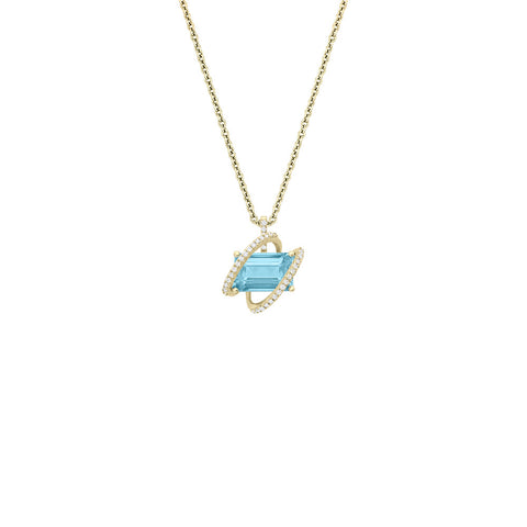 Galaxy Linx Pendant in Sky Blue Topaz, Diamonds and Yellow Gold