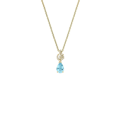 Galaxy Spectra Pendant in Sky Blue Topaz, Diamonds and Yellow Gold