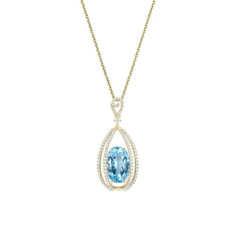 Galaxy Carina Pendant in Sky Blue Topaz, Diamonds and Yellow Gold