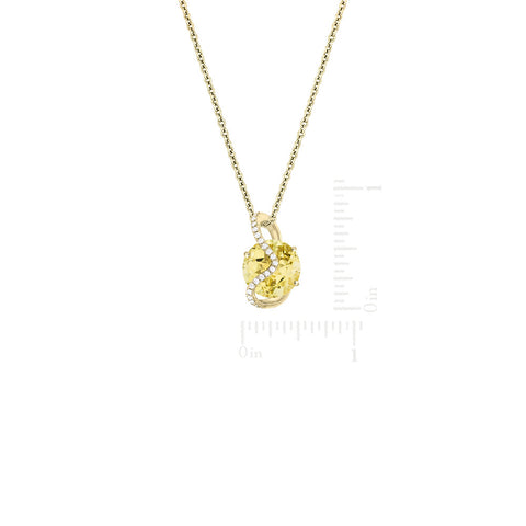 Galaxy Leo Pendant in Lemon Quartz, Diamonds and Yellow Gold