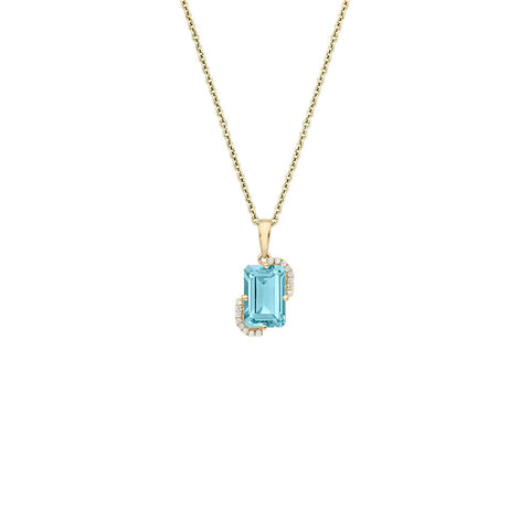 Galaxy Pegasus Pendant in Sky Blue Topaz, Diamonds and Yellow Gold