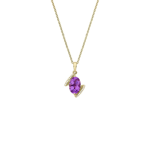 Galaxy Virgo Pendant in Purple Amethyst, Diamonds and Yellow Gold