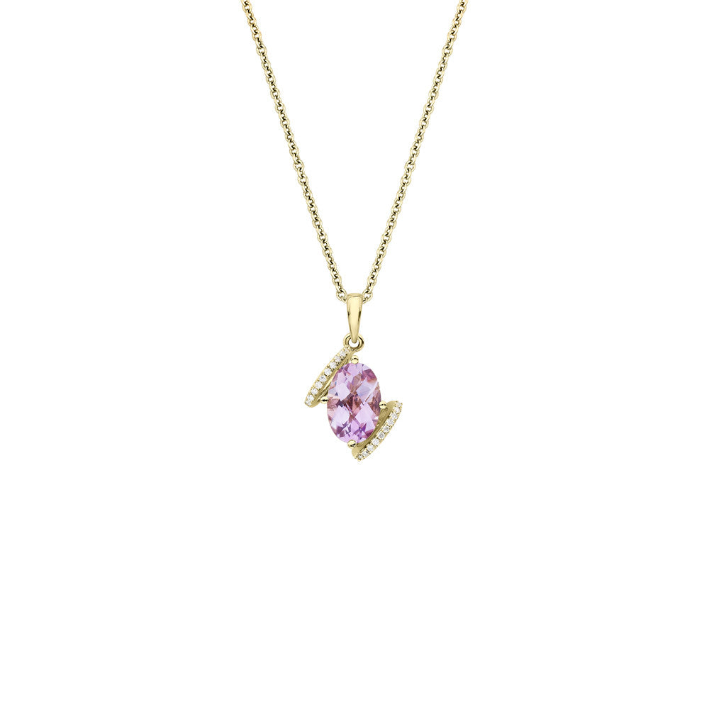 Galaxy Virgo Pendant in Rose de France, Diamonds and Yellow Gold