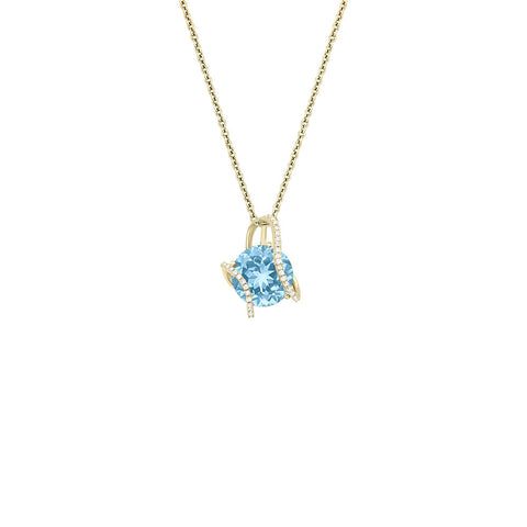 Galaxy Hydra Pendant in Sky Blue Topaz, Diamonds and Yellow Gold