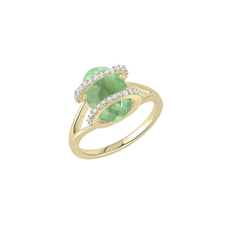 GALAXY ARES MINI RING IN FLUORITE, DIAMONDS AND YELLOW GOLD