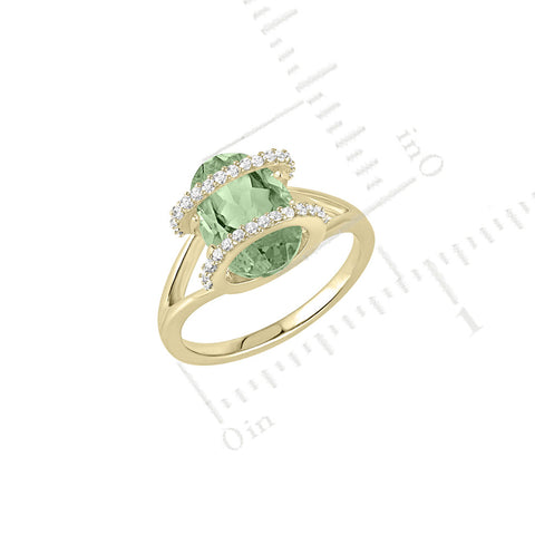 Galaxy Ares Mini Ring in Prasiolite, Diamonds and Yellow Gold