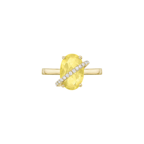 Galaxy Delphi Mini Ring in Lemon Quartz, Diamonds and Yellow Gold