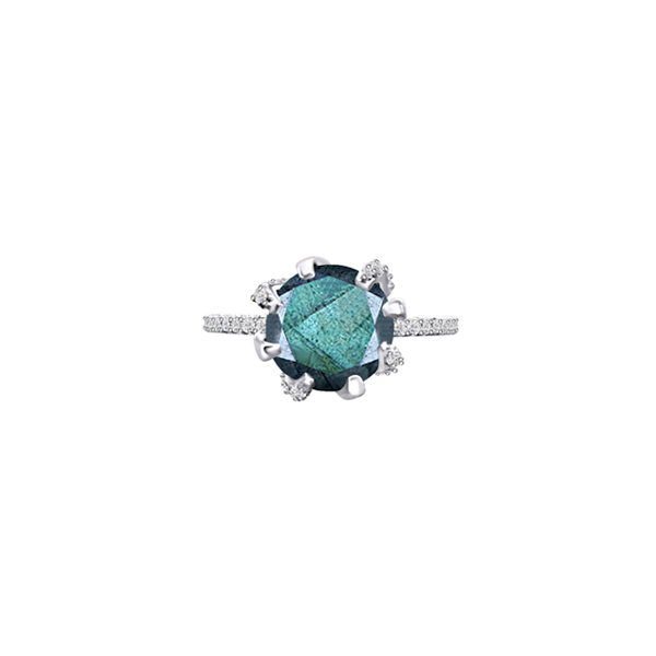 GALAXY CARINA MINI RING IN LABRADORITE, DIAMONDS AND WHITE GOLD