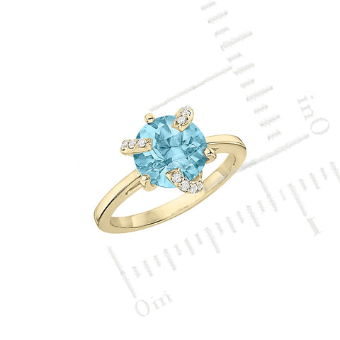 Galaxy Atlas Mini Ring in Sky Blue Topaz, Diamonds and Yellow Gold