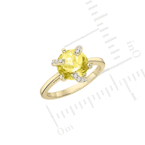 Galaxy Atlas Mini Ring in Lemon Quartz, Diamonds and Yellow Gold