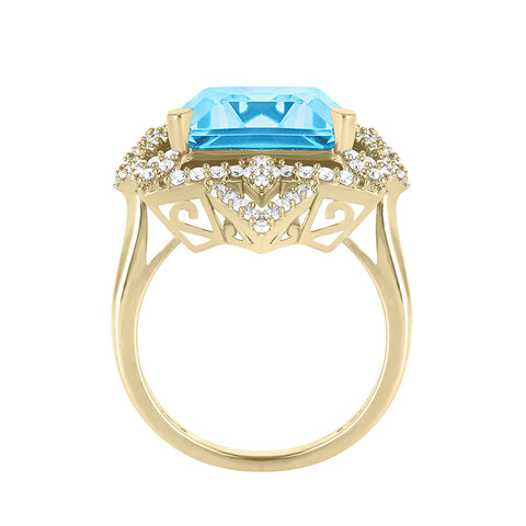 Galaxy Vira Ring in Sky Blue Topaz, Diamonds and Yellow Gold