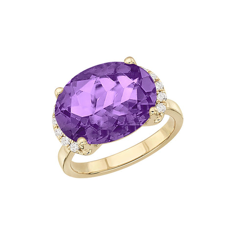 Galaxy Norma East-West Ring in Purple Amethyst, Diamonds and Yellow Gold