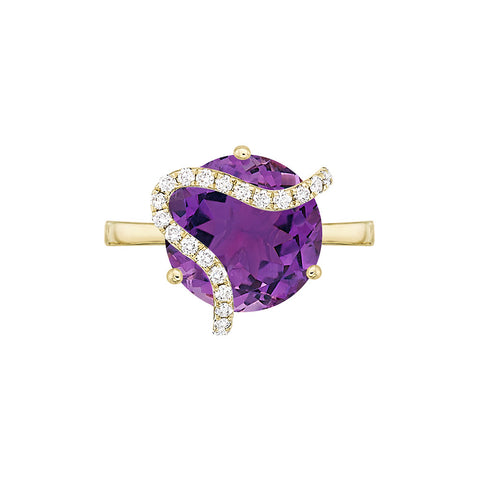 Galaxy Leo Ring in Purple Amethyst, Diamonds and Yellow Gold