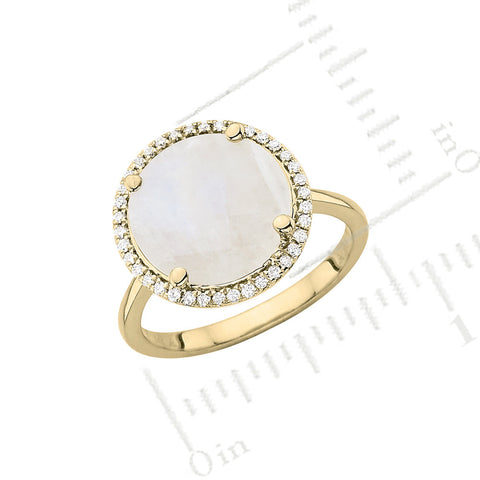 Galaxy Elipse Ring in Rainbow Moonstone, Diamonds and Yellow Gold