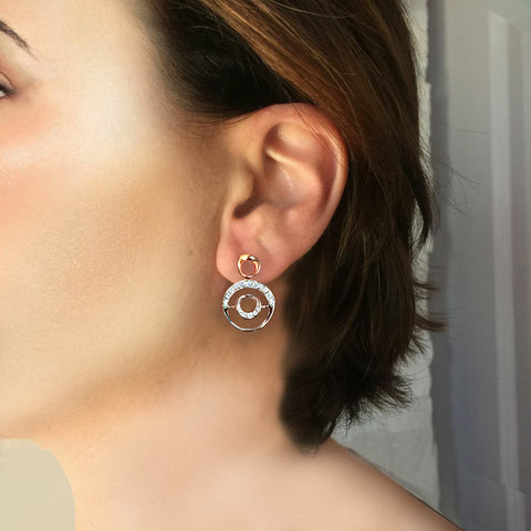 Daytime Diamond Circ Earrings, in Rose and White Gold