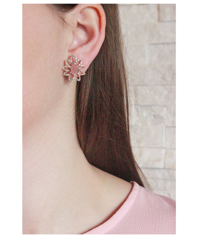 Lava Collection Earrings, Guava Quartz and Diamonds