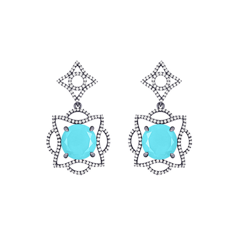 Lava Blossom Earrings in Turquoise, Diamonds and Blackened White Gold
