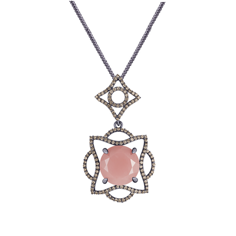 Lava Blossom Pendant, Guava Quartz and Diamonds