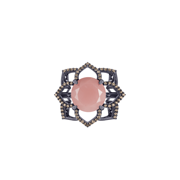 Lava Blossom Ring, in Guava Quartz and Champagne Diamonds