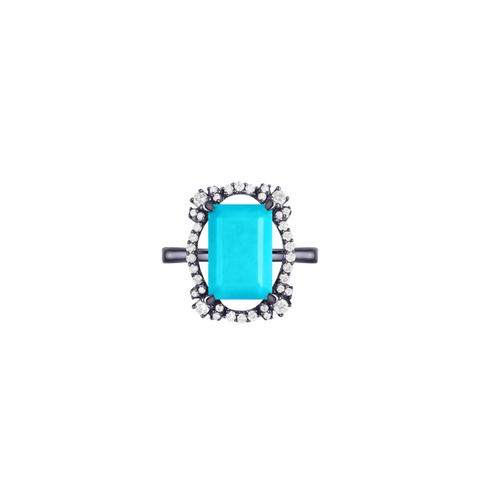 Lava Scout Ring, in Turquoise and Diamond