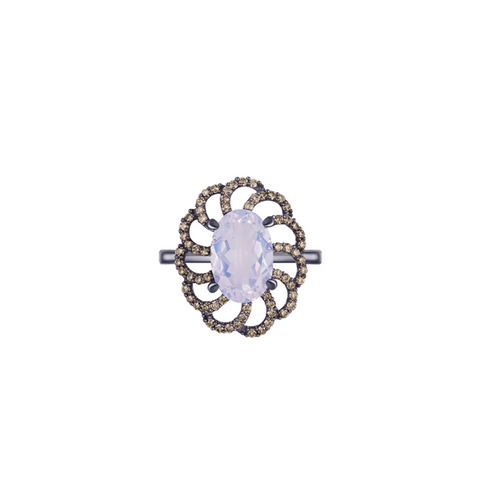 Lava Kira Ring in Lavender Moonstone, Champagne Diamonds