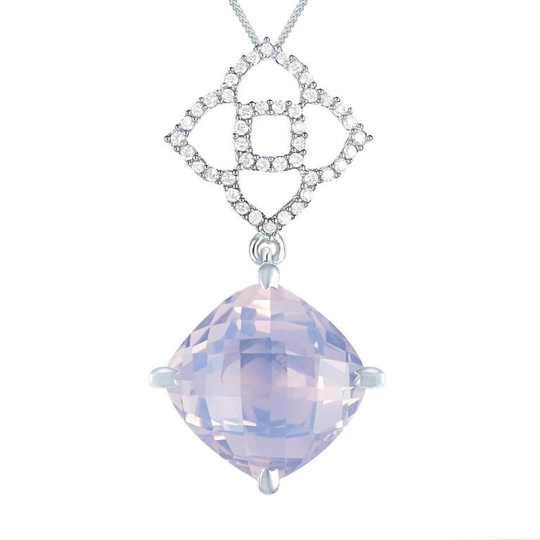 Lava Collection Pendant in Lavender Moonstone, Diamonds and White Gold