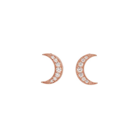 Daytime Diamond Moon Stud Earrings, in Rose Gold