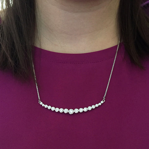 Daytime Diamond Eclipse Necklace, in White Gold
