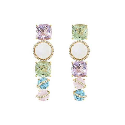 One-Of-A-Kind Cambridge Mismatched Earrings, Diamonds and Yellow Gold