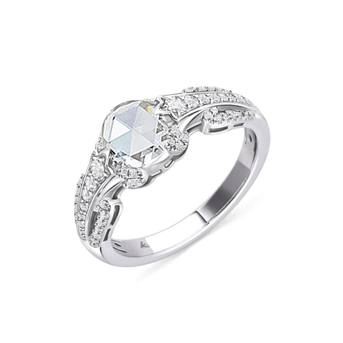 One-of-kind White Sapphire Ring, with Diamonds and White Gold