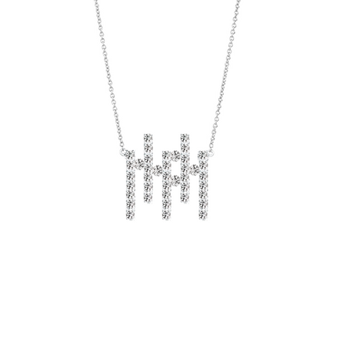 Daytime Diamond Mini Offset Bars Necklace, in White Gold