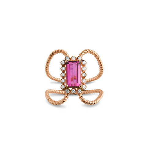Cocktail Diamond Open Ruby Ring, in Rose Gold